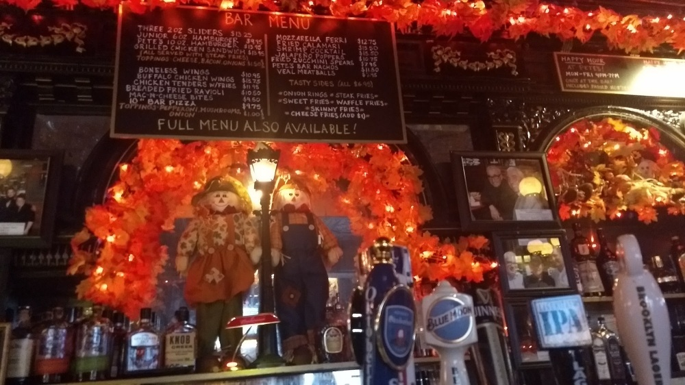 The bar decorated for Halloween