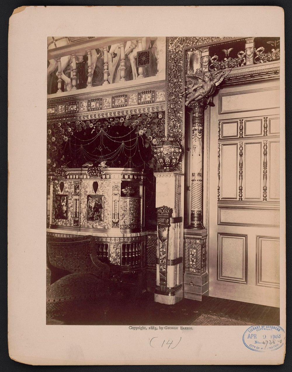 William K. and Alva Vanderbilt mansion, 660 Fifth Avenue, New York City. Interior details