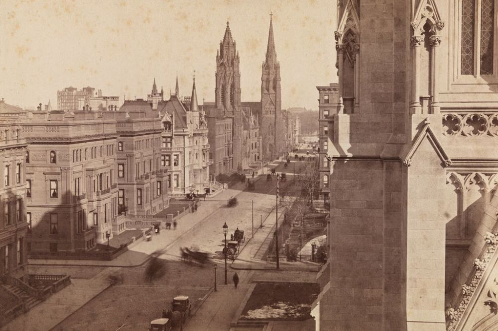 Fifth Avenue and the Vanderbilt Mansions seen from St.Patrick's Cathedral, New York 1890
