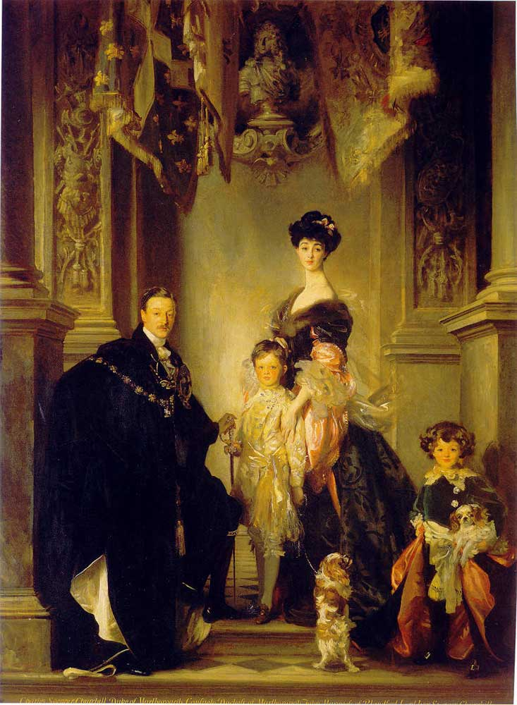 Portrait of the 9th Duke of Marlborough with his family by Singer Sargent