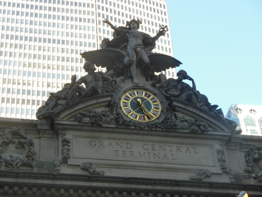 """Tiffany clock embellished by the sculptural group """"Transportation"""""""