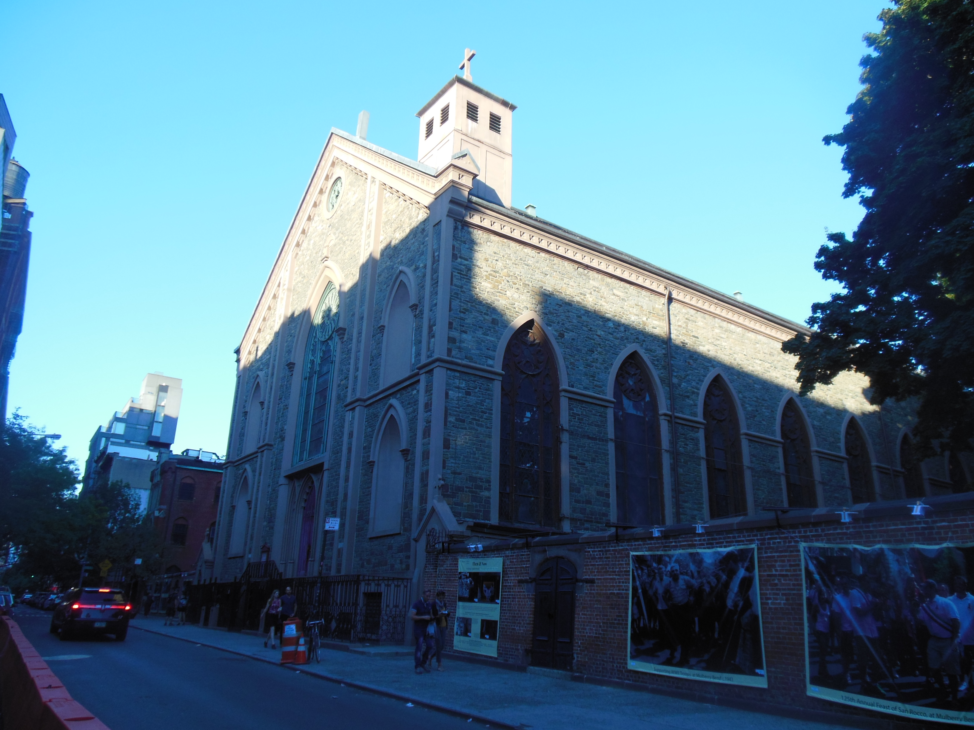 Looking northeast at the front (Mulberry Street) side of St. Patricks Old Cathedral