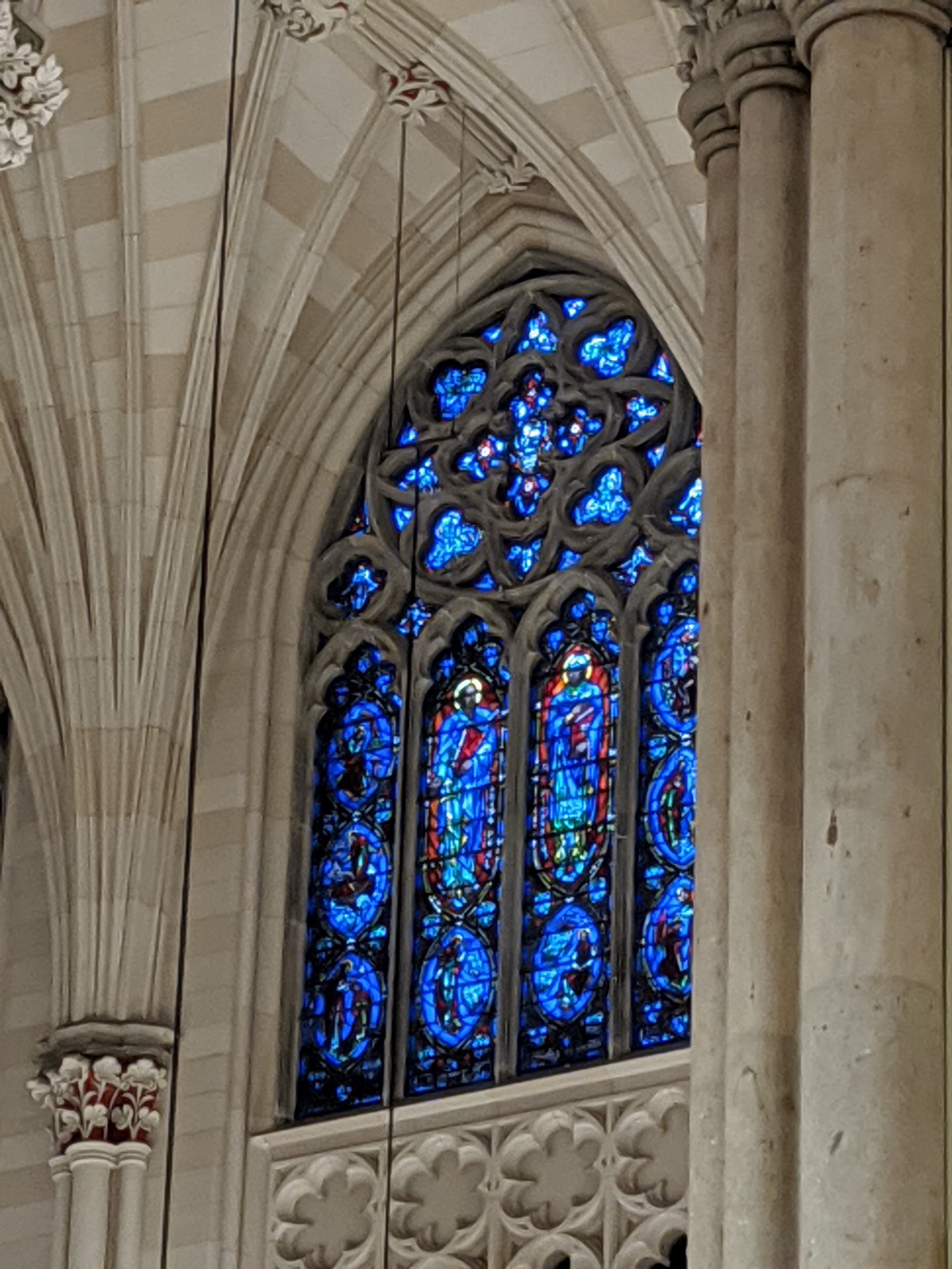 Stained-glass window in St. Patrick's Cathedral