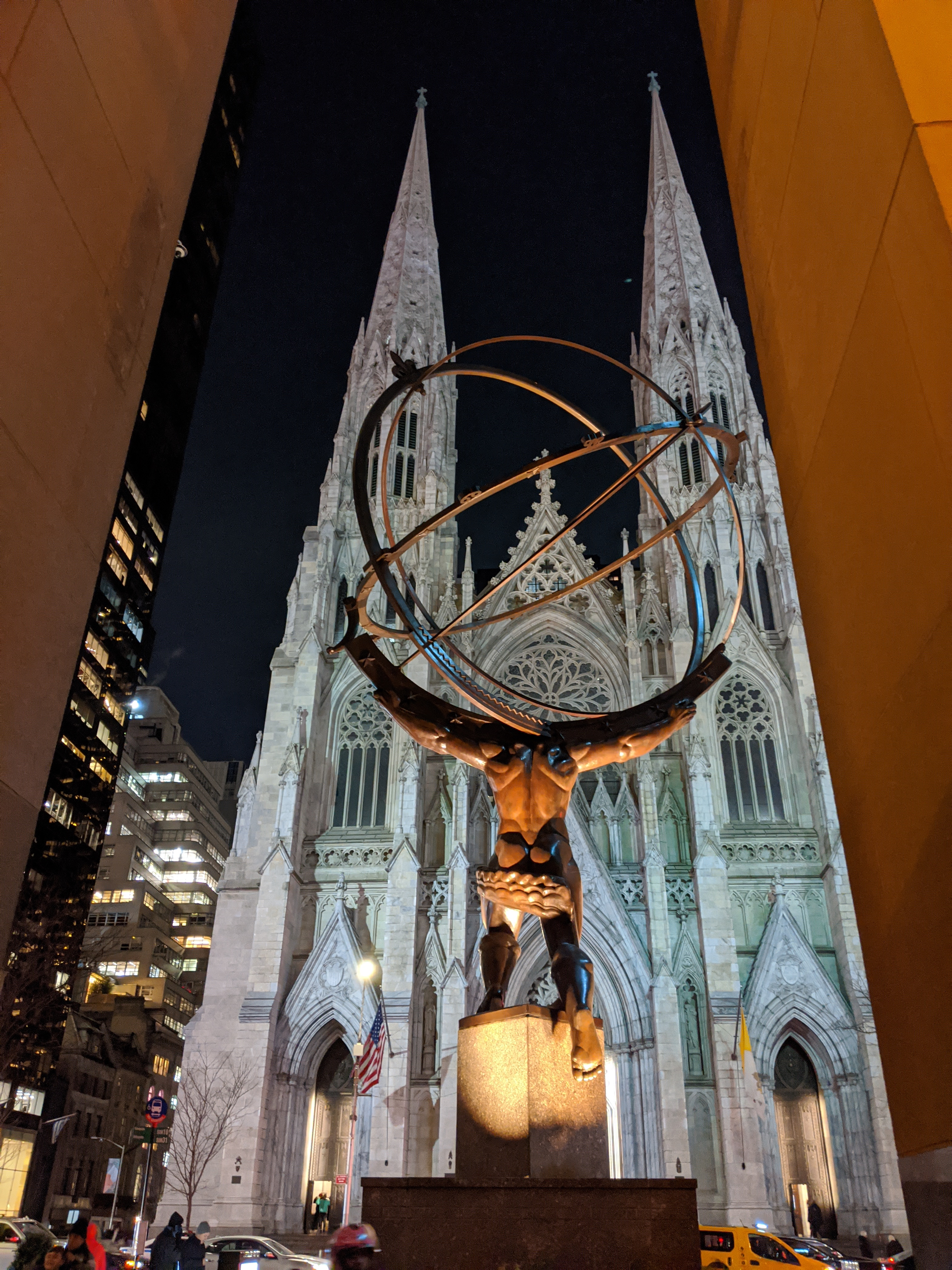 St. Patrick's Cathedral from across Fifth Avenue. Atlas by Lee Lawrie - on the forefront