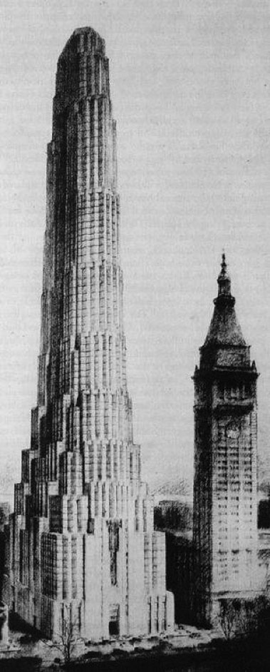 Rendering of 11 Madison Avenue (right) just to the north of the Metropolitan Life clock tower, right, shows setback scalloped plan by Harvey Wiley Corbett and Dan Everett Waid for 100-story building on which construction was stopped at the 29th floor because of the market crash in 1929.