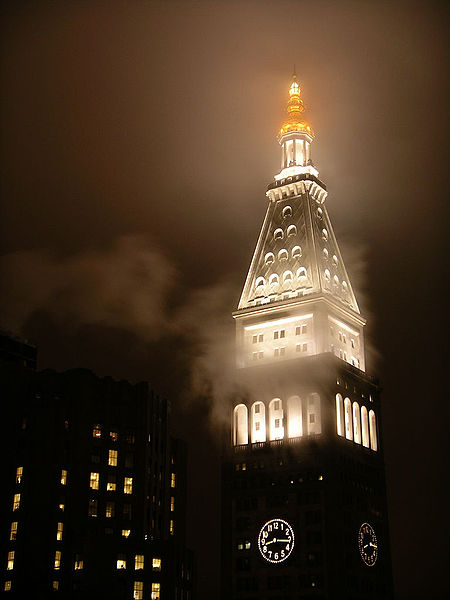 Met Life Tower near Madison Square Park in New York City seen at night, 2006