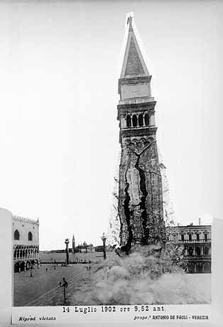 Fake photo purporting to show the collapse of the original Campanile in 1902. This picture became famous around the world.