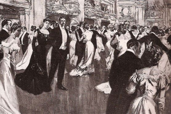 A portrait of Mrs Caroline Astor with Mr Elisha Dyer, former Republican governor of Rhode Island, at the Assembly Ball in New York in 1902.