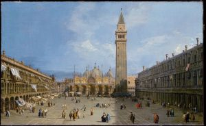 A painting of the Piazza San Marco with St Mark's Basilica and the original campanile, by Canaletto, 1720