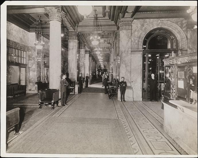 Peacock Alley in the Waldorf-Astoria, 1897-1929, unknown photographer, MCNY collections