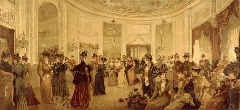 New York, reception at the Octagon Room of the Waldorf-Astoria Hotel, 1893