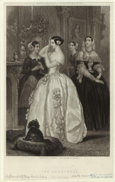The Debutante. Sartain, John (1808-1897) (Engraver) Gilbert, J. (Artist) From Wallach Division Picture Collection
