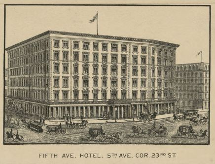 Detail from Taylor Map of New York, showing the Fifth Avenue Hotel, 1879