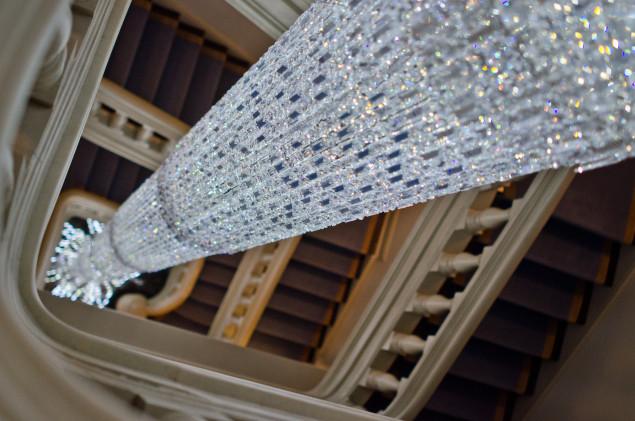 The grandest chandelier in the grandest house. PHOTO: Molly Stromoski for Observer