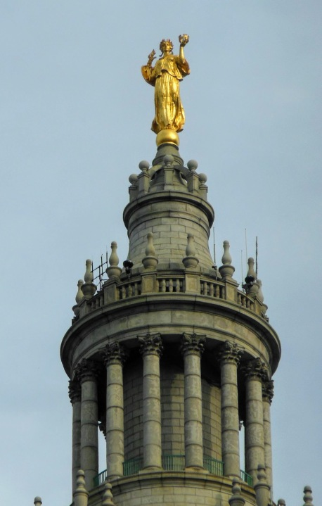 The gilded statue of Civic Fame at the top of Manhattan Municipal Building