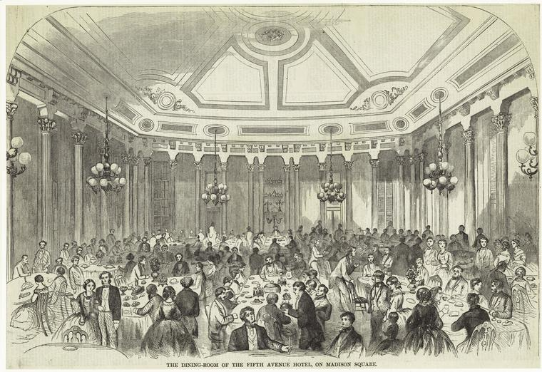 Illustration of the Fifth Avenue Hotel dining room, Harper's Weekly (1859)