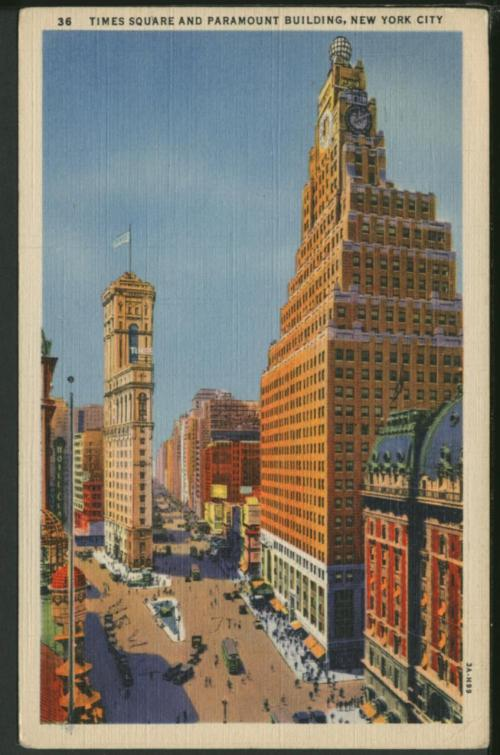 Times Square and Paramount Building, New York City Postmark date: 1937 Color postcard Avery Classics Collection, Seymour B. Durst Old York Library Collection
