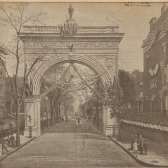 The Washington Arch of New York, a clipping, 1889 Source: NYPL Digital Collections