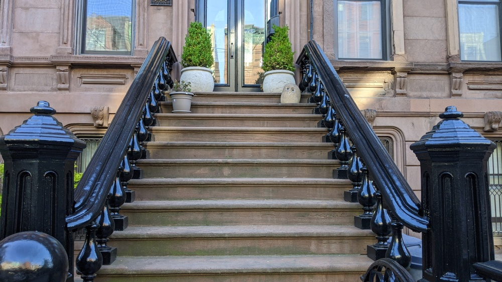 A stoop - brownstone entrance