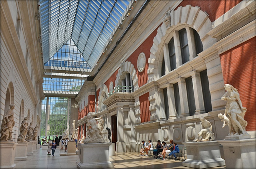 European Sculpture Court with the original red wall