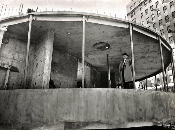 Frank Lloyd Wright surveys construction of the Guggenheim in 1957. Photo by Sam Falk/NYT