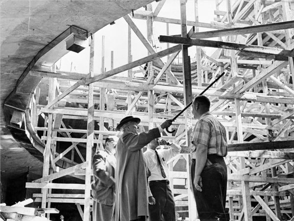 Wright at the Guggenheim during construction. Photo Courtesy of the FLW Foundation