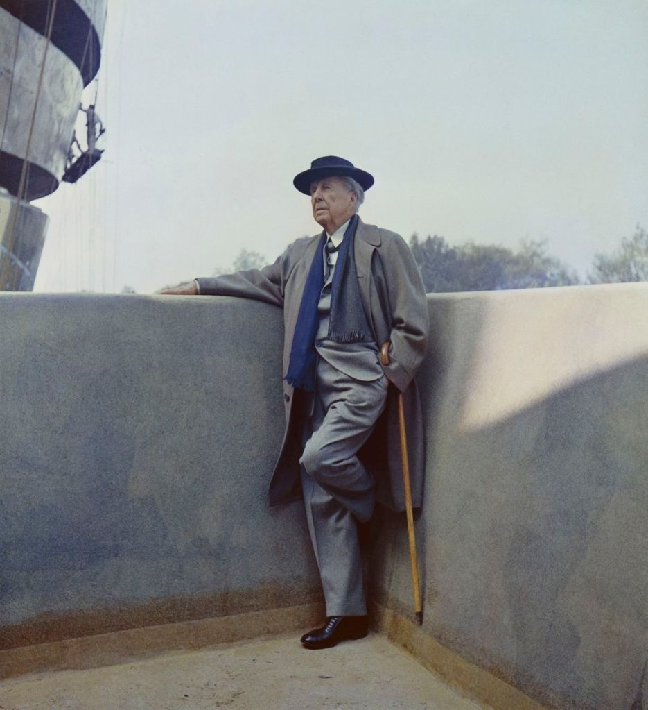 Frank Lloyd Wright on the balcony of the Solomon R. Guggenheim Museum during construction, 1959
